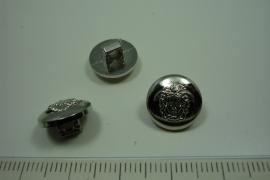 [ 0906 ] sluit Knoop 12.5 mm. Kunstof, Zilver, per stuk