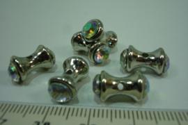 [ 0618 ] Acryl Diabolo kraal 14 x 7 mm. Zilverkleur met Zirkonia AB, per stuk