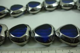 [ 6477 ] Glas kraal 20 mm. Hartje Blauw met Zilverrand, 15 stuks
