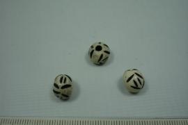 [5547 ] Been kraal 9 x 7 mm. Wit Zwart, per stuk