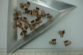 [5380 ] Veterklem 4x4 mm.  Koperkleur, 22 stuks