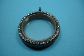 [ 6242 ] Locker Rond 31 mm. Koperkleur met Glitter, per stuk