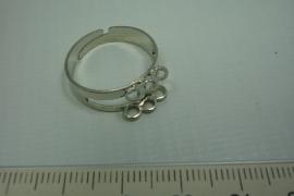 [0740 ] 6 oog Ring, Verzilverd, per stuk