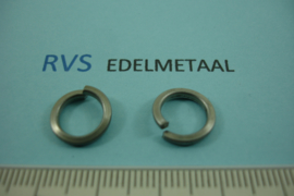 [ 8482 ]  RVS mat, Open Ring plat, 12 mm. x 1.8 mm.  per 15 stuks