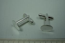 [ 0798 ] Manchet knoop, plak plaatje 16 mm. Zilverkleur, per paar
