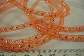 [ 6401 ] Open Tube koord 4 mm. Oranje met Zilver,  per meter