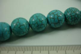 *[ 8506 ] Turkoois 12 mm.  blauw met veel nerf, per streng