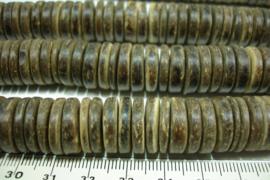 +[ 10110 ] Schijfjes 15 mm. Kokosnoot  d. Bruin, per streng
