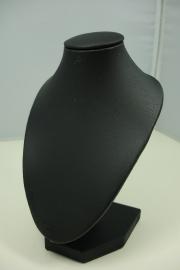 *[ 9192 ] Hals punt Mini, Zwart mat Leer 15 cm.