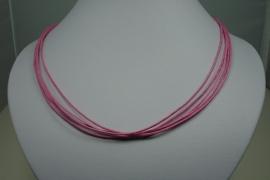 [ 5933 ] 5 Roze Draden Ketting 45 cm. met slot, per stuk