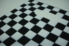 [ 8229 ] Tas 25 x 20 cm. Zwart/Wit geblokt, 100 stuks