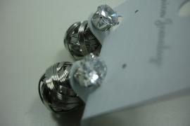 [ 6213 ] Double Dots Zilverkleur met Zirkonia, per paar