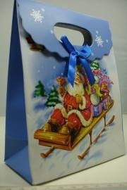 *[ 5963 ] Kerst Tasje  12.5 x 16 cm. Kerstman op slee, per stuk
