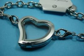 [ 6251 ] Armband 19 cm. met Locker Hartje 28 mm. Zilverkleur met Glitter, per stuk