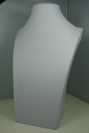 *[ 9207 ] Hals Luxe Wit Leer, Middel 29 cm.