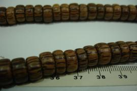 [ 10107 ]  Palm hout schijfjes 10 mm. licht Bruin, per streng