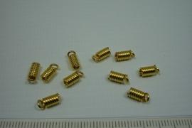 [5638 ] Koordklem Spiraal 3.5 mm. Goudkleur, 10 stuks