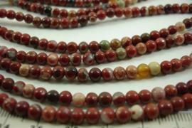 [ 8662 ] Jaspis Rood mix  4 mm.  per streng 39 cm.