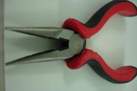 +[ 8490 ] Platbek tang met ribbels, grof rood zwart handvat, per stuk