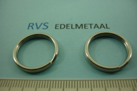 [ 8541 ]  RVS  Split ring  20 mm.  per 3 stuks