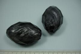 [0588 ] Zilverfolie kraal Zwart, ovaal 40 mm. per stuk