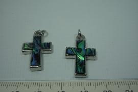 [0702 ] Paua schelp kruisje, 27 x 17 mm.  per stuk