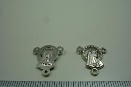 [ 0955 ] Rozenkrans Connector 17 mm. Metaal Zilverkleur, per stuk