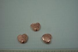 [0700 ] Kraaltje in Hart vorm 7 x 8 mm. Rosé kleur, per stuk