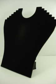 *[ 9174 ] Klaphalsje voor 6 dunnen Kettingen, 24 cm.Zwart Fluweel, per stuk