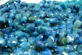 *[ F.B. 9 ] 310 Kunststof KRALEN 18 mm.  Blauw geaderd.