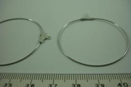 [ 6545 ] Aanhang Creool 40 mm. Zilverkleur, 4 stuks