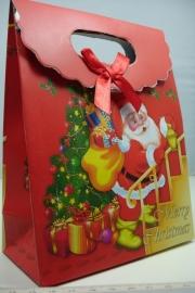 *[ 5962 ] Kerst Tasje  12.5 x 16 cm. Kerstman op trap, per stuk