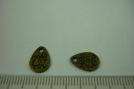 [ 1241 ] Druppel met tekst  11.3 x 8 mm. Brons, per stuk