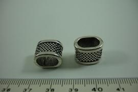 [ 0958 ] Leerschuif Metaal 14 x 10 mm. , met spikkel, per stuk
