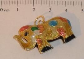 (5220) Cloisonne hanger olifant 35 x 21 mm.
