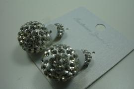 [ 6214 ] Double Dots Oorbel Zilver Glitter, per paar