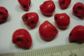 [ 0750 ] Doodshoofd kraal 10 mm. Rood, per stuk