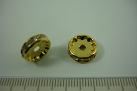 [ 1319 ] Rondel 12 mm. Goudkleur met helder Kristal, per stuk