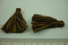 [ 6947 ]  Gemeleerd Kwastje 3 cm. Bruin, per 3 stuks