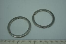 [5599 ] Split ring plat 34 mm. Zilverkleur, 4 stuks