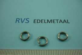 [ 8485 ]  RVS mat, Open Ring 6.8 mm. x 1.2 mm.  per 38 stuks