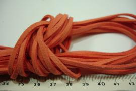 [ 6072-A ] Plat Suede Veter 2.8 mm. , D. Oranje, per meter