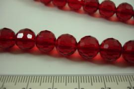 [ 6955 ] Ronde facet geslepen Glaskralen 10 mm. D.  Rood, per streng