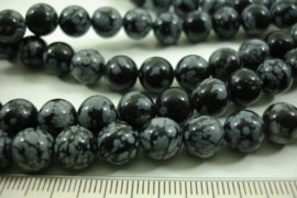 [ 8633 ] Snow Flake Obsidian  8 mm.  per streng 39 cm.