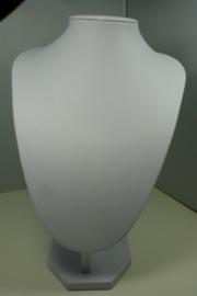 *[ 9149 ] Hals Punt Wit Leer, Middel 28 cm.