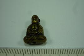 [ 7053 ] Boeddha zit 19 mm. Brons, per stuk