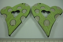 [ 6628 ] Hart Groen, rechts en links, 7 x 5 cm. per set