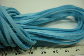 [ 6076 ] Plat Suede Veter 2.8 mm. Licht Blauw, per meter