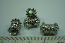 [ 0618-A ] Diabolo kraal 14 x 9 mm. Zilverkleur metaal met Zirkonia AB, per stuk