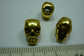 [ 0335 ] Doodshoofd kraal  metaal, Goudkleur 12 x 8 mm.